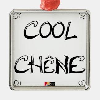 Ornement Carré Argenté COOL CHÊNE - Jeux de Mots - Francois Ville