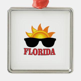 Ornement Carré Argenté Cool de la Floride
