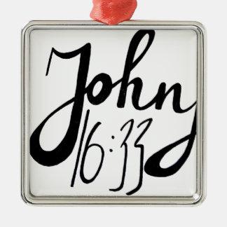 Ornement Carré Argenté Copie biblique de citation de 16h33 de John