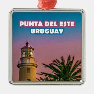 Ornement Carré Argenté Copie d'affiche de Punta del Este