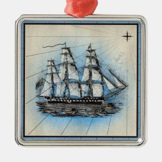 Ornement Carré Argenté Copie marine de bateau noir avec le cadre bleu