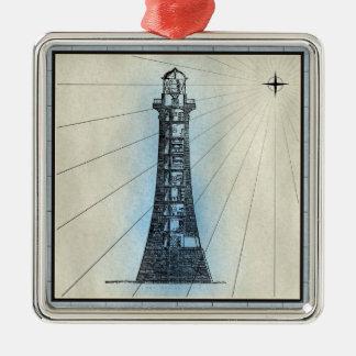 Ornement Carré Argenté Copie marine de phare noir avec le cadre bleu