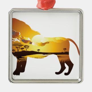 Ornement Carré Argenté Coucher du soleil africain avec Lion2