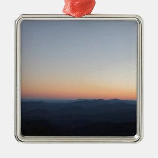 Ornement Carré Argenté Coucher du soleil de Blue Ridge Mountains