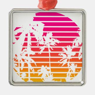 Ornement Carré Argenté Coucher du soleil tropical