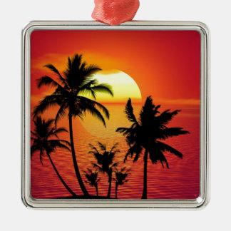 Ornement Carré Argenté Coucher du soleil tropical de plage d'été de