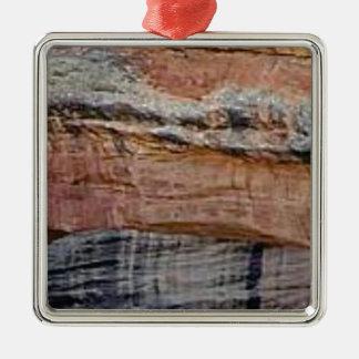 Ornement Carré Argenté couches de couleur en grès