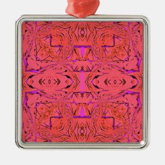 Ornement Carré Argenté Couleurs au néon vibrantes roses oranges modernes