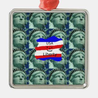 Ornement Carré Argenté Couleurs de drapeau des Etats-Unis avec la statue