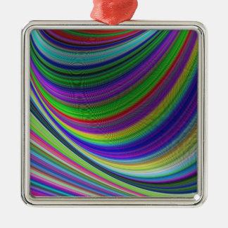 Ornement Carré Argenté Courbes de couleur