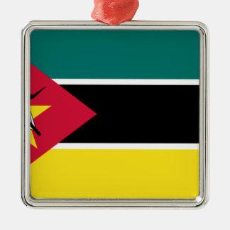 Ornement Carré Argenté Coût bas ! Drapeau de la Mozambique