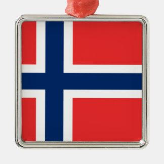 Ornement Carré Argenté Coût bas ! Drapeau de la Norvège