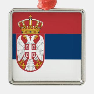 Ornement Carré Argenté Coût bas ! Drapeau de la Serbie
