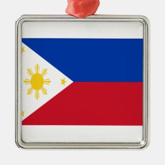 Ornement Carré Argenté Coût bas ! Drapeau de Philippines