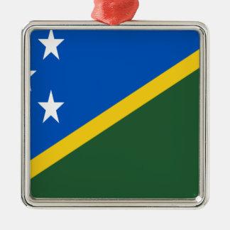 Ornement Carré Argenté Coût bas ! Drapeau d'îles Salomon