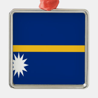Ornement Carré Argenté Coût bas ! Drapeau du Nauru