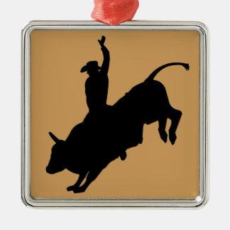 Ornement Carré Argenté Cowboy luxuriant de rodéo d'équitation de Taureau
