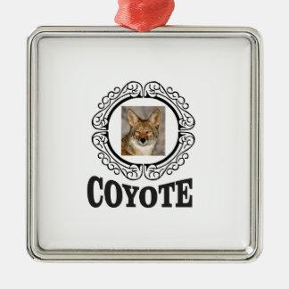 Ornement Carré Argenté coyote rond