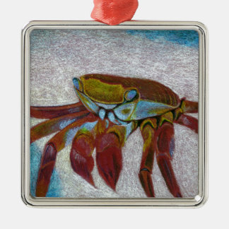 Ornement Carré Argenté Crabe