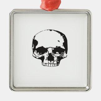 Ornement Carré Argenté Crâne