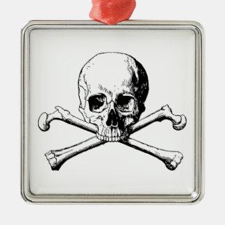 Ornement Carré Argenté Crâne d'os croisés