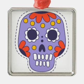 Ornement Carré Argenté Crâne peint par Mexicain