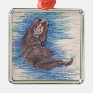 Ornement Carré Argenté Créature d'animal sauvage de loutre de mer petite