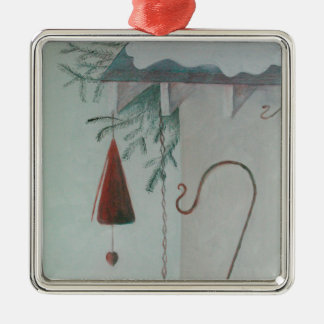 Ornement Carré Argenté Crochet et carillon