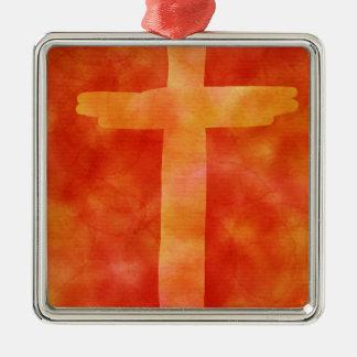 Ornement Carré Argenté croix ardente