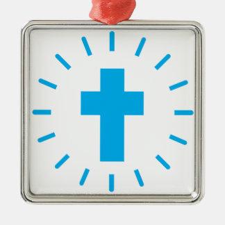 Ornement Carré Argenté Croix de Jésus-Christ