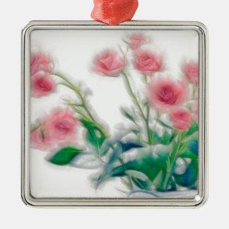 Ornement Carré Argenté Croquis de bouquet rose