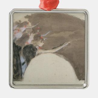 Ornement Carré Argenté Croquis d'Edgar Degas | pour une fan, c.1879