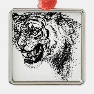 Ornement Carré Argenté Croquis principal de tigre