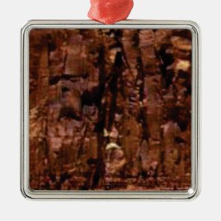 Ornement Carré Argenté croustillant brun de roche
