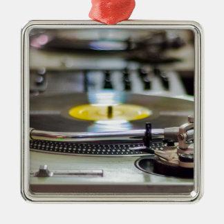 Ornement Carré Argenté Cru de vinyle de plaque tournante rétro de bruit