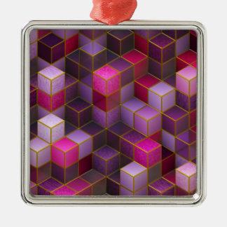 Ornement Carré Argenté Cubes marron