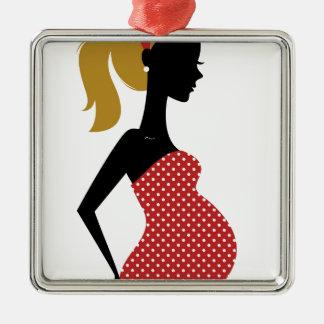 Ornement Carré Argenté Dame enceinte en rouge avec les points