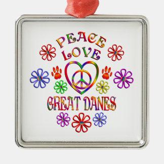 Ornement Carré Argenté Danois d'amour de paix grands