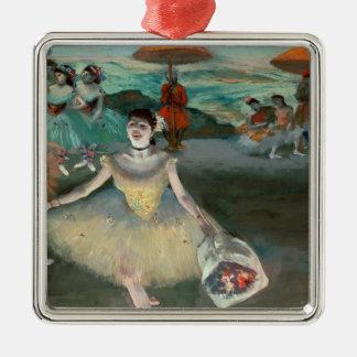 Ornement Carré Argenté Danseur d'Edgar Degas | avec le bouquet, faisant