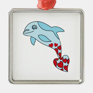 Ornement Carré Argenté dauphin