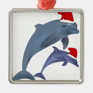Ornement Carré Argenté Dauphin de Noël