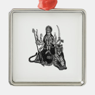 Ornement Carré Argenté Déesse de Shiva