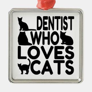 Ornement Carré Argenté Dentiste qui aime des chats