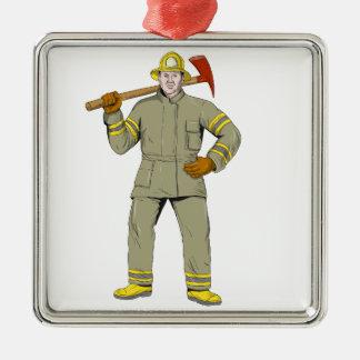 Ornement Carré Argenté Dessin américain de hache du feu de sapeur-pompier