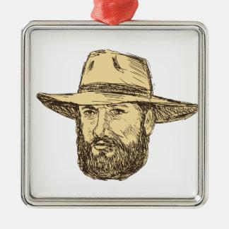 Ornement Carré Argenté Dessin barbu de tête de cowboy