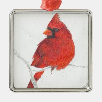 Ornement Carré Argenté Dessin cardinal d'hiver