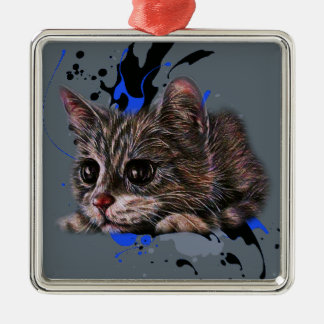 Ornement Carré Argenté Dessin de chaton comme chat avec l'art de peinture