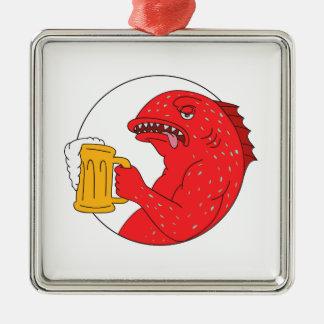 Ornement Carré Argenté Dessin de corail de cercle de tasse de bière de