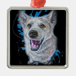 Ornement Carré Argenté Dessin de la séance et de la peinture de chien