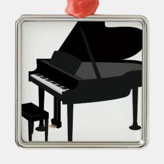 Ornement Carré Argenté Dessin de piano à queue